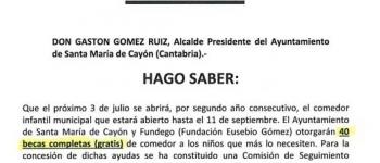 El Ayuntamiento de Santa María de Cayón y Fundego concederán 40 becas en la reapertura del comedor infantil municipal