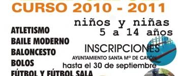 Abierto el plazo para la inscripción en el curso 2010-2011 de las Escuelas Deportivas Municipales del Ayuntamiento de Santa María de Cayón.