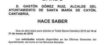 Continua abierto el plazo para la solicitud del Ticket Social Cántabro 2016