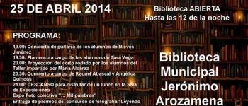 Celebra con nosotros la noche de las Bibliotecas, este 25 de Abril pues estara la Biblioteca Abierta hasta las 12 de la noche
