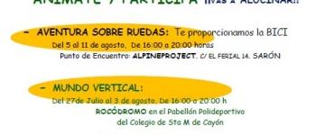 Verano Joven.Mundo Vertical y Aventuras sobre ruedas.Organizado por el Ayuntamiento de Santa María de Cayón