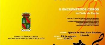 Programa del II Encuentro de Coros del Valle de Cayón, Organizado por la Concejalía de Educación,Cultura y Juventud.