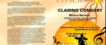 Programa del Concierto. Clarino Consort.5 de septiembre.Iglesia de Ntra.Sra. de la Asunción.Organizado por la Concejalía de Cultura,Educación y Juventud.