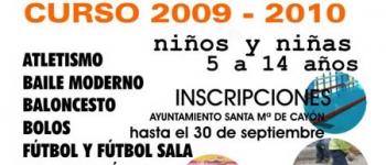 Abierto el plazo para la inscripción en el curso 2009-2010 de las Escuelas Deportivas Municipales del Ayuntamiento de Santa María de Cayón.