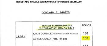 """Resultados de las Tiradas clasificatorias 16º Torneo """"El Millón"""" 2011"""