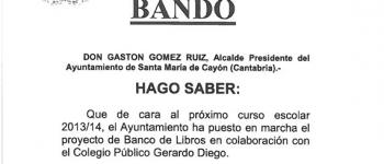 """El Ayuntamiento de Santa Mª de Cayón y el Colegio Gerardo Diego habilitan el nuevo proyecto """"Banco de Libros"""""""