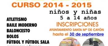 Anímate y participa  este año en las Escuelas Deportivas Municipales de Santa María de Cayón, una apuesta por el deporte para el  Curso 2014 y 2015
