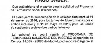 Programa de Termalismo Social - Balnearios